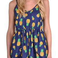 Blue Spaghetti Strap Pineapple Print Rompers with Poms Deco