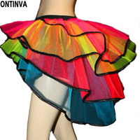 Sexy Belly Dance Mermaid tutu Skirts for Women swallow tail Neon Colorfully Asymetrical Fashion Mini Skirt Dancewear Clubwear