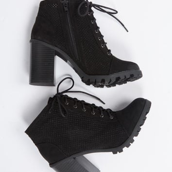 Perforated Lace Up Ankle Boots