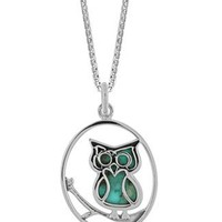 Boma Sterling Silver Turquoise Owl Necklace, 16 inches