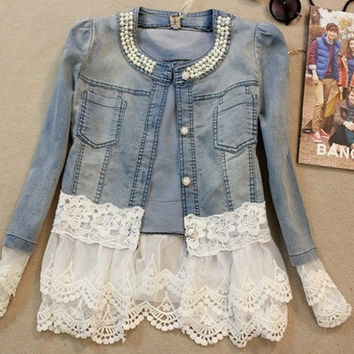 2016 HOT Sales Women Denim Jacket Pearl Lace Splice Jean Coat Spring Summer Autumn Women Fashion Clothing _ 9291