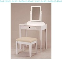 White Bedroom Vanity Table with Tilt Mirror & Cushioned Bench:Amazon:Home & Kitchen
