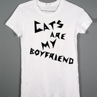 Cat Shirt - Cats are my Boyfriend - White Tshirt