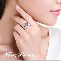 2 Ct Round Cut Lab Made Diamond Split Shank Halo Promise / Engagement Ring with options Bridal set - made to order ( FairyParadise)