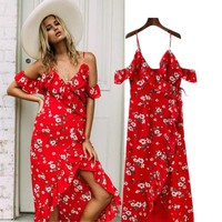 Spaghetti Strap Sexy Split Prom Dress Women's Fashion Summer One Piece Dress [16057303066]