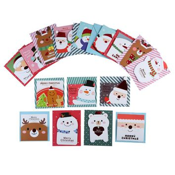 16 card +16 envelope/lot Cute Cartoon Small Santa Claus Snowman Merry Christmas Postcard Greeting Card Gift Card Christmas Cards