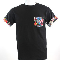 Captain America Marvel Comics Print Patched Pocket Roll-upT-Shirt