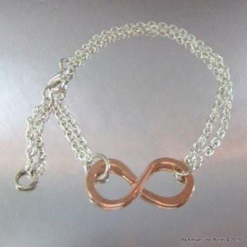 Petite Adjustable Copper Infinity Bracelet with Sterling Silver Filled Chain