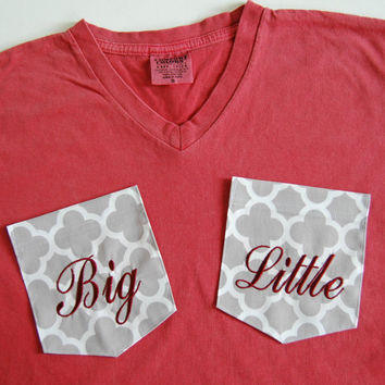 NEW CRIMSON Red V-Neck-  Sorority Big or Little Monogrammed Pocket T Shirt