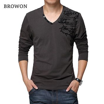 Autumn Men's Long-sleeved T-shirt Cotton Fabric Patchwork Flower Print T-shirt V-neck Clothing