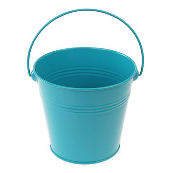 Metal Pail Buckets Party Favor, 5-inch, Turquoise