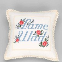 Plum & Bow Lame Stitched Pillow- Ivory One