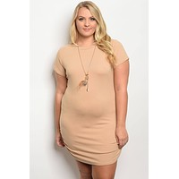 Plus size tan dress with chain