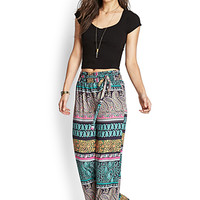 FOREVER 21 Paisley Wide-Leg Pants Black/Teal Large