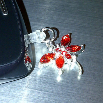 Red Crystal Dragonfly Cell Phone Dust Plug Charm