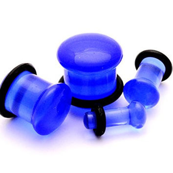 Blue Single Flare Glass Plugs - 00g - 10mm - Sold As a Pair