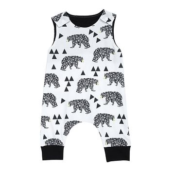 Fashion Baby Romper 2017 Summer Infant Kids Boy Girl Sleeveless Animal Print Romper Jumpsuit Outfit Children Sunsuit Clothes 0-2