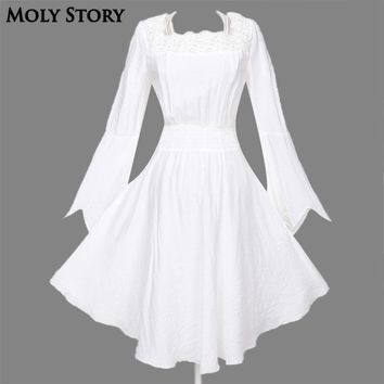 Long Sleeve Vintage Lace Gothic Dress Black/White Steampunk Dress