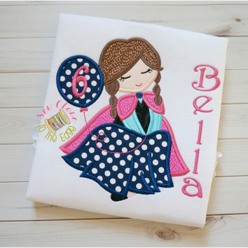Anna Ice Princess Inspired Applique Girls T-Shirt - Personalized Appliqued Girl Birthday Shirt - Embroidered Frozen Birthday