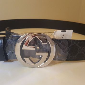 GUCCI black gray 44-110 GG Supreme gun metal INTERLOCKING G buckle belt