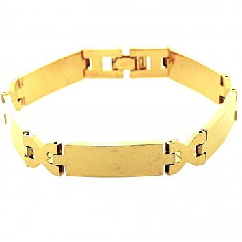 Gold Layered 5.035.008.1 Solid Bracelet, Hugs and Kisses Design, Polished Finish, Gold Tone
