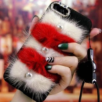 Lanyard Sable Pearl Fur PC Temperament Phone Case Shell For iPhone 6s 7 plus