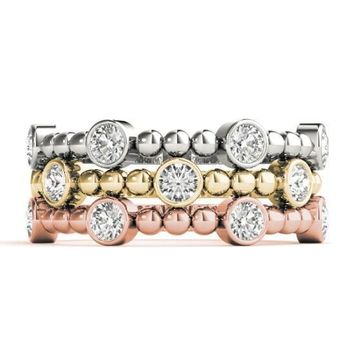 Stackables 1/2 Eternity Tri-Tone Gold Bezel Round Diamond & Beads 3-Band Set