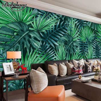 beibehang papel de parede 3d wallpaper Custom fresh hand painted tropical flowers green leaves background wall paper mural