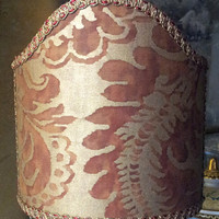 Clip-On Shield Shade Fortuny Fabric Rust & Gold Sevigne Pattern Half Lampshade - Handmade in Italy