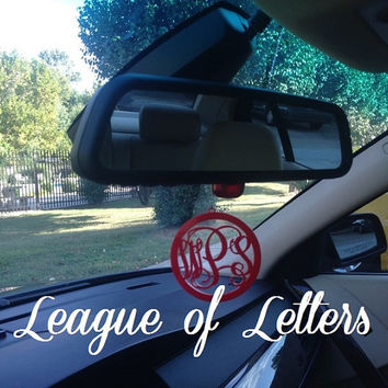 3 inch Monogram Rear View Mirror Charm: Pick Your Own Color