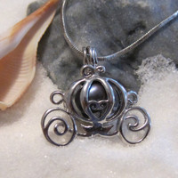 Disney Princess Cinderella  Pearl Cage Carriage Silver Plated Charm Necklace with Black Pearl