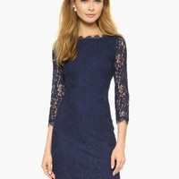 Blue Sheer Sleeve Floral Lace V-Cut Back Mini Dress