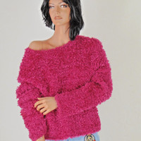 Sze S / M Pink Boucle sweater, 80's Pink Fuzzy Sweater by Cache,