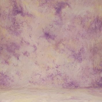 Printed Muslin Abstract Purple and Yellow Contrast Backdrop - 110-2