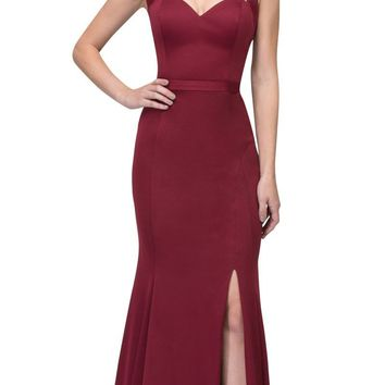 Burgundy Cut-Out Neckline Mermaid Long Prom Dress with Slit