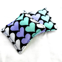 Pastel Hearts Flannel Hand Warmers - Teal Purple Reusable Rice Hand Warmers