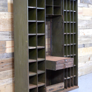 Antique Post Office Window, Post Office Cabinet, Metal Shelving Unit
