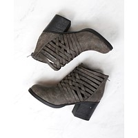 strappy woven vamp chunky heel bootie - grey