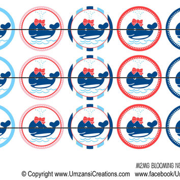 """M2MG Blooming Nautical Whale Bottle Cap Images 1"""" Circles Cupcake Toppers Instant Download Digital Emailed 4x6"""