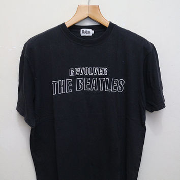 Vintage THE BEATLES Revolver Tee T Shirt Concert Tour Black Size L