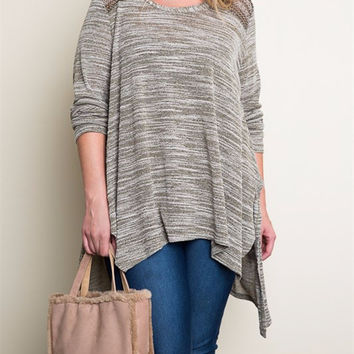 Feathered Knit Top - Olive