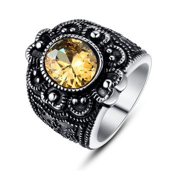 Stainless Steel Vintage Flora Oval Yellow Cubic Zirconia Cocktail Ring