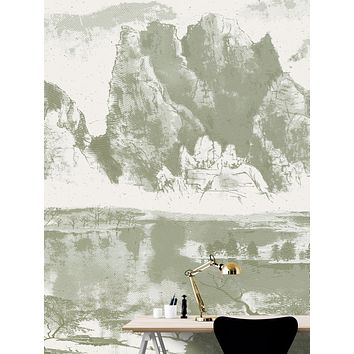 Shan Shui Traditional Chinese Mountain Landscape Scenery Painting Wall Mural. #6178