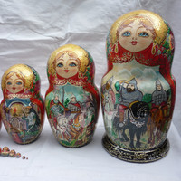 Matryoshka doll, 15 pcs, Wooden dolls, Ukrainian gifts, only handmade FREE SHIPPING !  D9