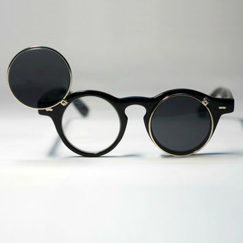 Deadstock Lady Gaga Retro Vintage Black Flipped up Lens Sunglasses