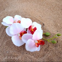Orchid Pink/White Hawaiian Flower Hair Clip