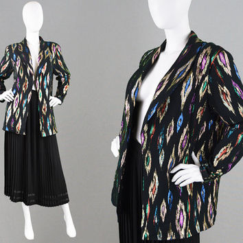 Vintage 70s 80s Metallic Lame Jacket Disco Jacket Sparkly Top Black Gold & Silver Tribal Pattern Evening Jacket British Boutique 1980s Coat