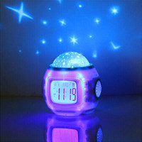 Room Novelty Led Night Light Rotary Flashing Projector Starry Sky Star Moon Table Lamp Children Nightlight Gift With Alarm Clock