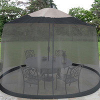 Outdoor Umbrella Table Screen - Black