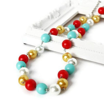 Colorful Necklace in Aqua, Yellow, Red and White. Simple Beaded Necklace.